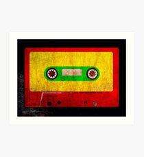Reggae Flag Cassette Tape - Cool Grunge Reggae Music Design Art Print