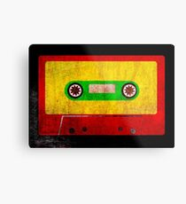 Reggae Flag Cassette Tape - Cool Grunge Reggae Music Design Metal Print