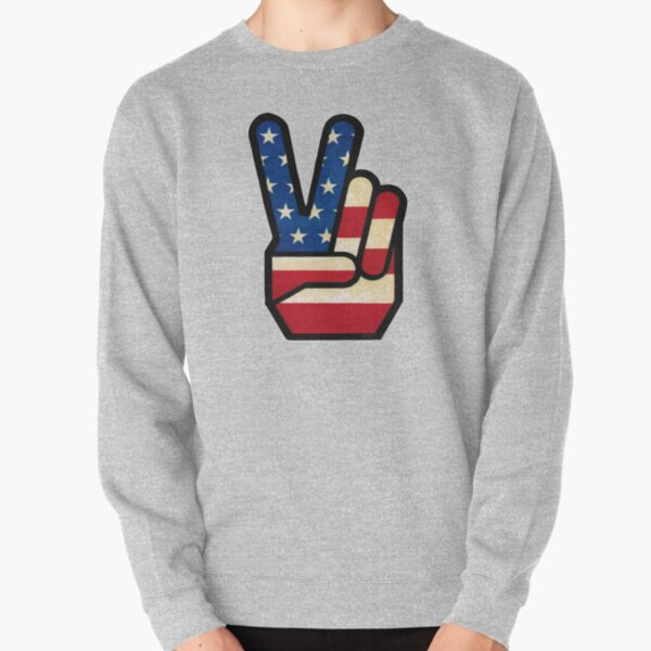 Vintage Peace Sign Fingers American Flag Pullover Sweatshirt