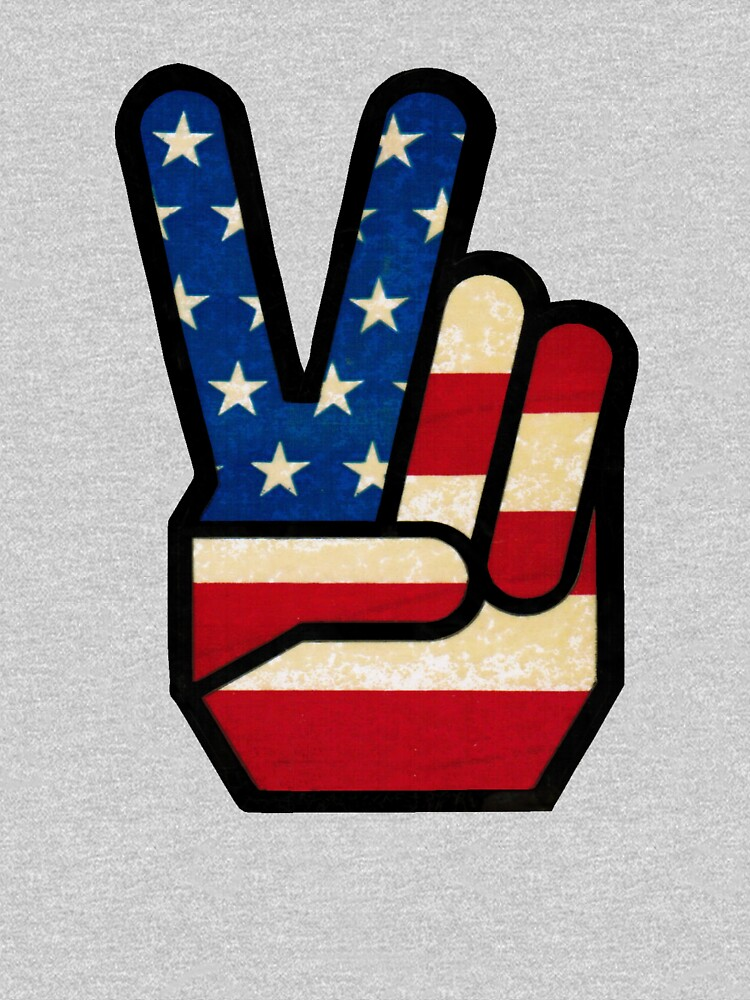 Vintage Peace Sign Fingers American Flag by hilda74