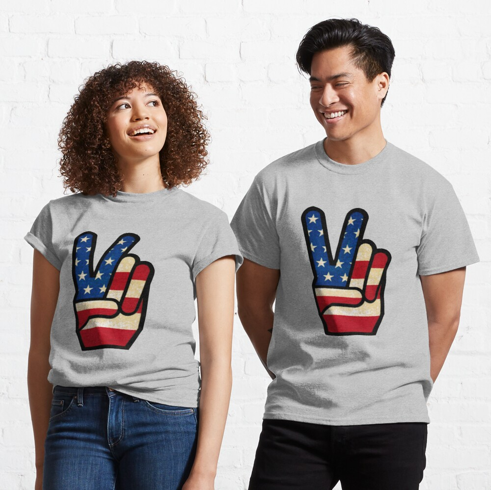 Vintage Peace Sign Fingers American Flag Classic T-Shirt