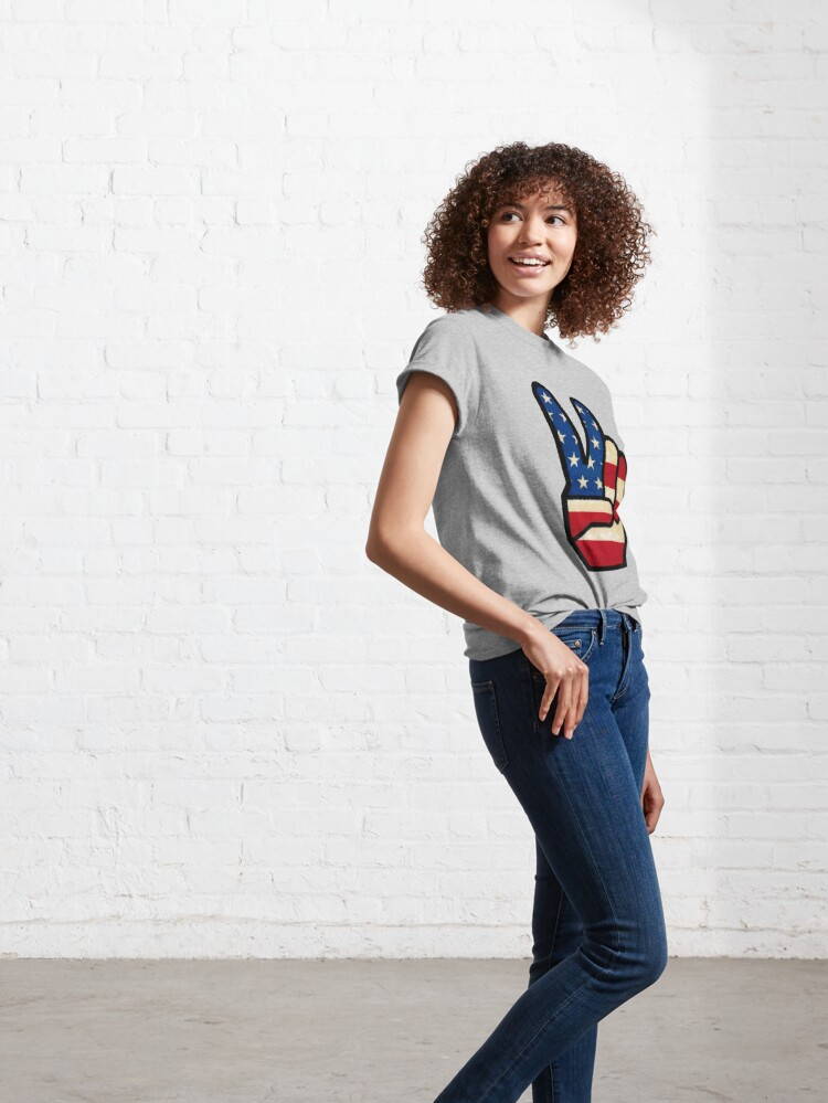 Alternate view of Vintage Peace Sign Fingers American Flag Classic T-Shirt