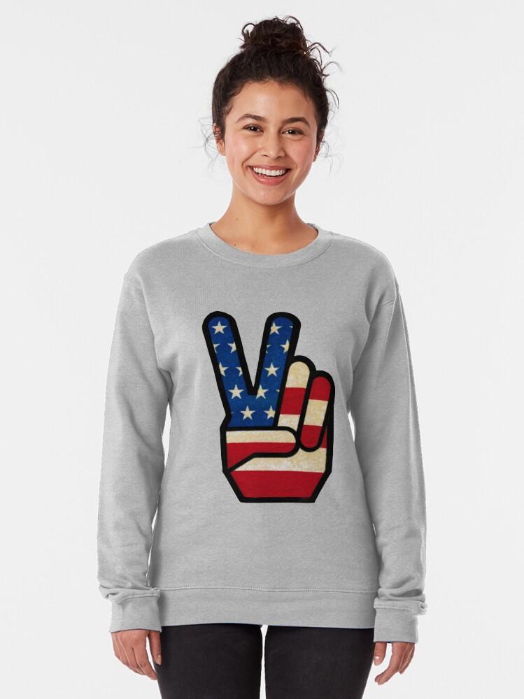 Alternate view of Vintage Peace Sign Fingers American Flag Pullover Sweatshirt