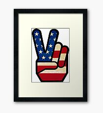 Vintage Peace Sign Fingers American Flag Framed Print