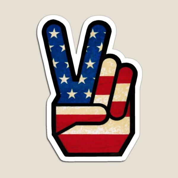 Vintage Peace Sign Fingers American Flag Magnet