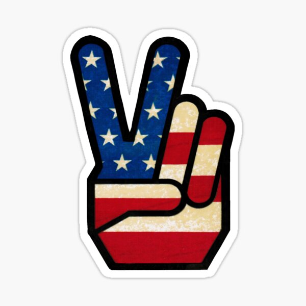 Vintage Peace Sign Fingers American Flag Sticker