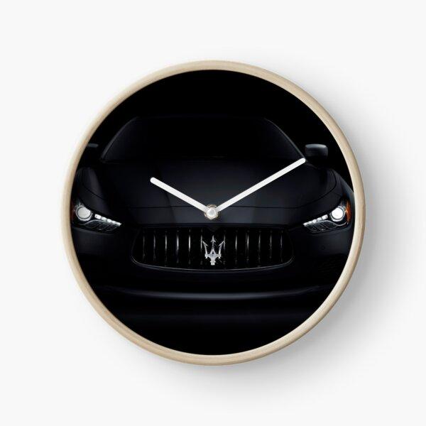 Maserati Ghibli S Q4 luxury car on black art photo print Clock