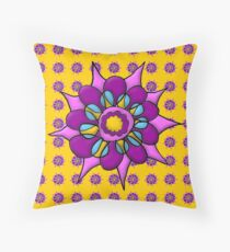 Spirographic Floral Overload Throw Pillow