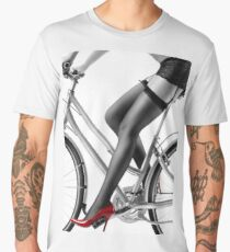 Sexy woman in red high heels and stockings riding bike art photo print Men's Premium T-Shirt