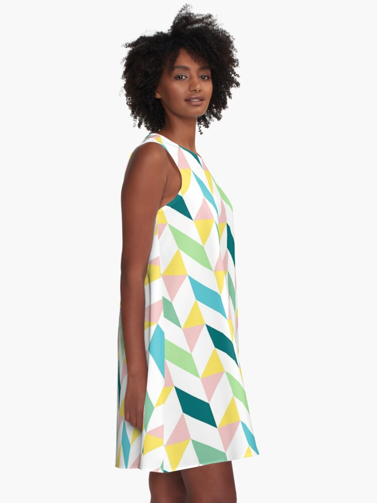 Alternate view of Colorful Geometric Pattern Teal Turquoise Mint Yellow Pink A-Line Dress
