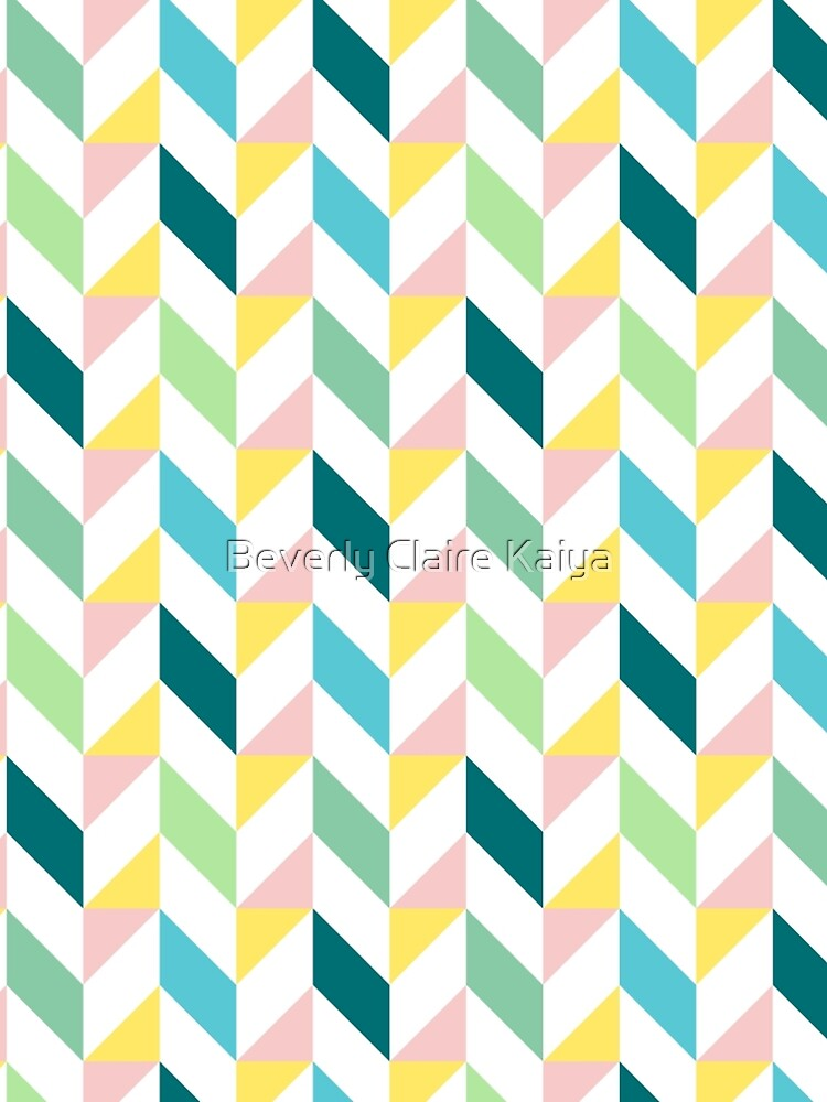Colorful Geometric Pattern Teal Turquoise Mint Yellow Pink by beverlyclaire