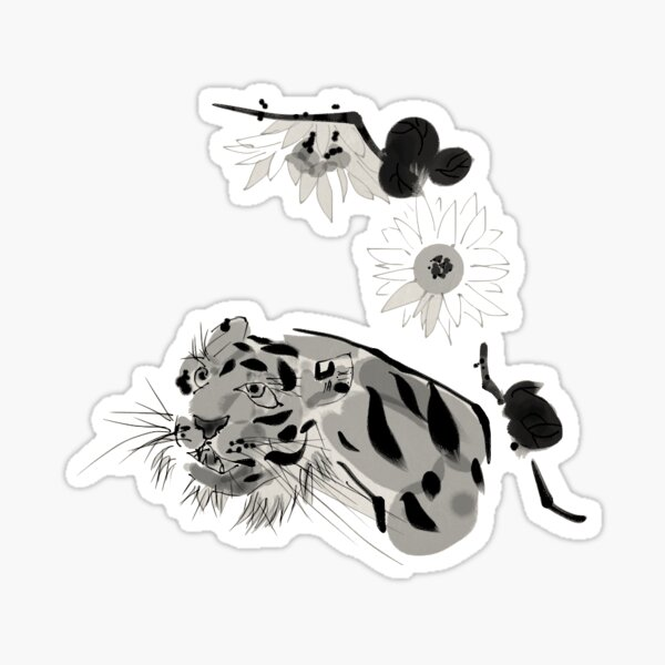 Tiger and Chrysanthemums Sticker