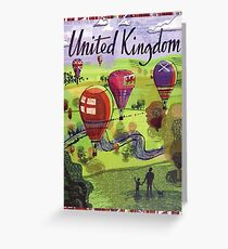 United Kingdom, England, hot air balloons, vintage travel poster Greeting Card