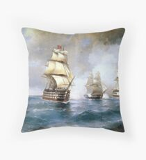 Brig Mercury Attacked by Two Turkish Ships Throw Pillow