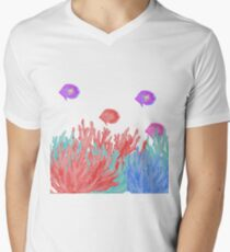Modern nautical  coral teal floral reef colorful fish T-Shirt