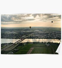 Hot Air Balloons Flying Over Saint-Jean-sur-Richelieu in Quebec Canada Poster
