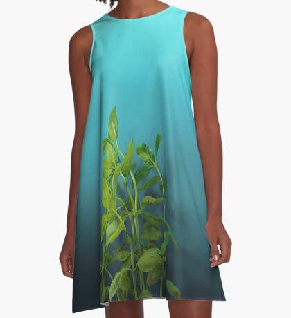 Schüchterner und charmanter Basilikum A-Linien Kleid