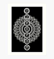 The Seven Chakras Mandala - White Print Art Print