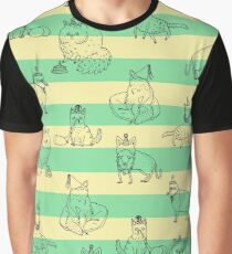 Party Cats Pattern Graphic T-Shirt