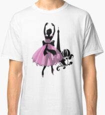 Graphic silhouette of a woman. Ballerina with floral ornament. Classic T-Shirt