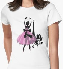 Graphic silhouette of a woman. Ballerina with floral ornament. T-Shirt