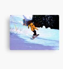 Carving Snow - Winter Snow-Boarding Scene Canvas Print