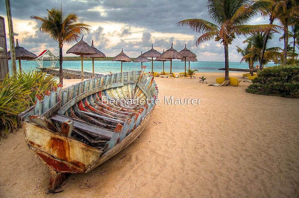 Boat on beach by Bernadette Maurer
