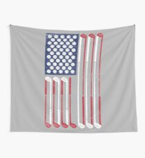 Vintage Flag > US Flag Made of Golf Balls + Clubs > Cool Golf Wall Tapestry