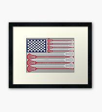 Vintage Flag > US Flag Made of Lacrosse Balls + Bats > Laxing Gerahmtes Wandbild