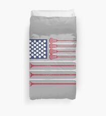 Vintage Flag > US Flag Made of Lacrosse Balls + Bats > Laxing Duvet Cover