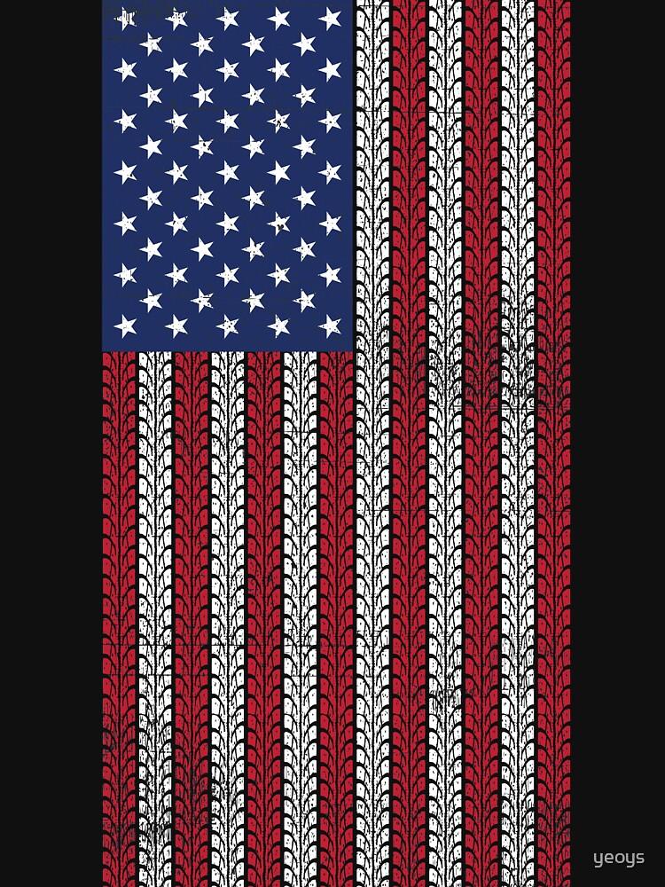 Vintage Flag > US Flag Made of Motorbike Tracks > Biker by yeoys