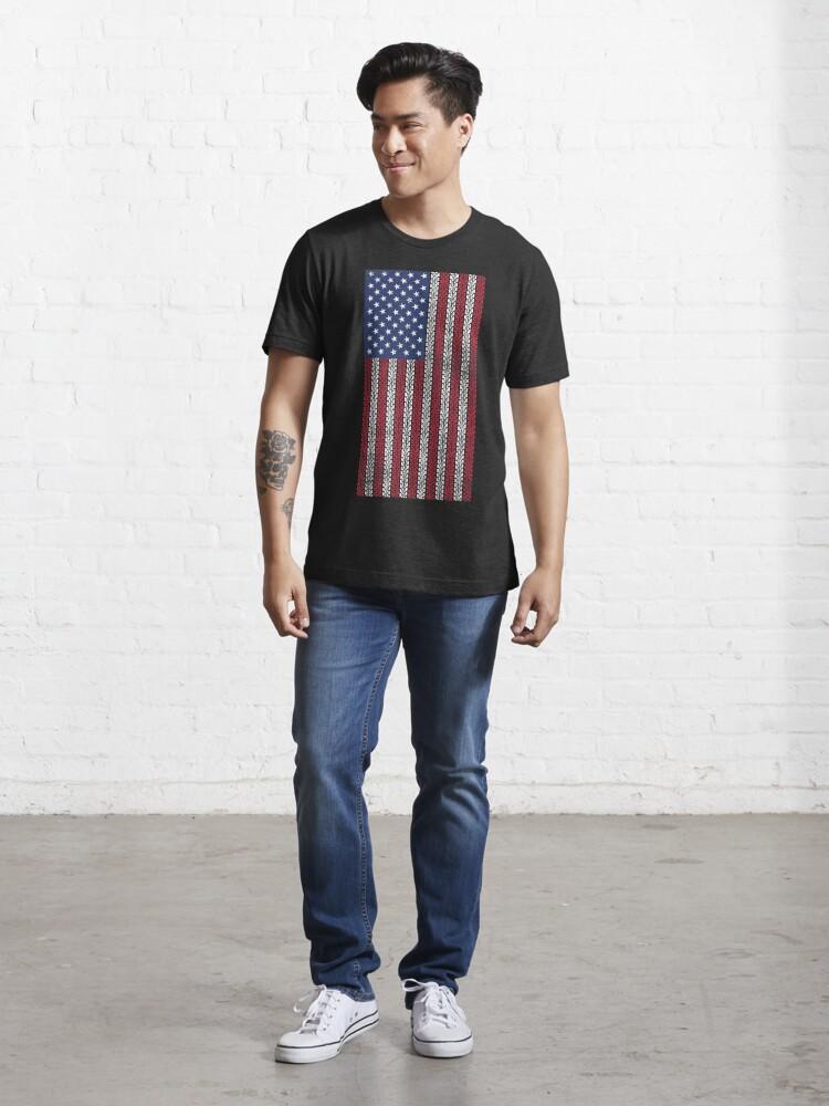 Alternate view of Vintage Flag > US Flag Made of Motorbike Tracks > Biker Essential T-Shirt