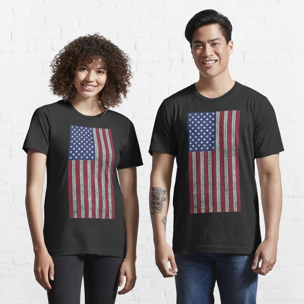 Vintage Flag > US Flag Made of Motorbike Tracks > Biker Essential T-Shirt