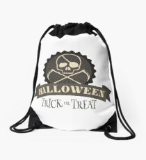 Trick or Treat Skull Drawstring Bag