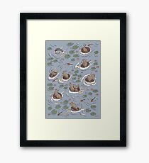 Coracle race - mice in lilies Framed Print