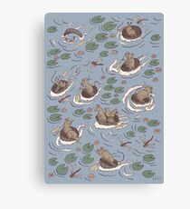 Coracle race - mice in lilies Canvas Print