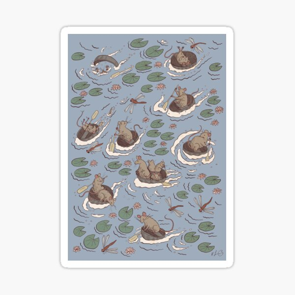 Coracle race - mice in lilies Sticker