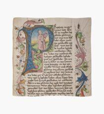 Pañuelo P inicial en un manuscrito medieval iluminado