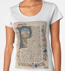 Initial P in a medieval illuminated manuscript Women's Premium T-Shirt