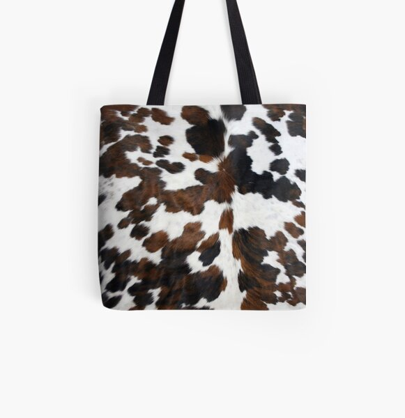 Cowhide Tan, black and white | Texture All Over Print Tote Bag