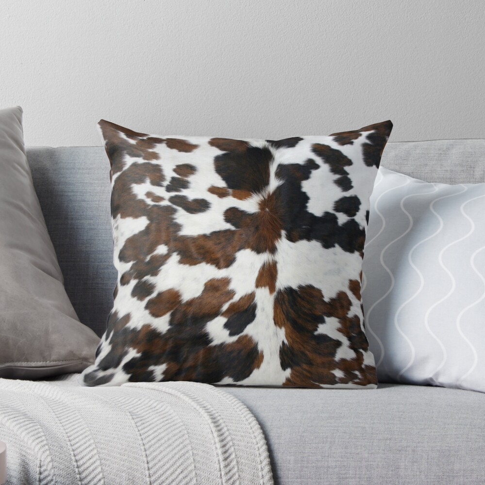 Cowhide Tan, black and white | Texture Throw Pillow