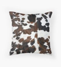 Cowhide Tan, black and white | Texture Throw Pillow