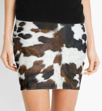Minifalda Piel de vaca color canela, blanco y negro | Textura