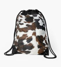 Cowhide Tan, black and white | Texture Drawstring Bag