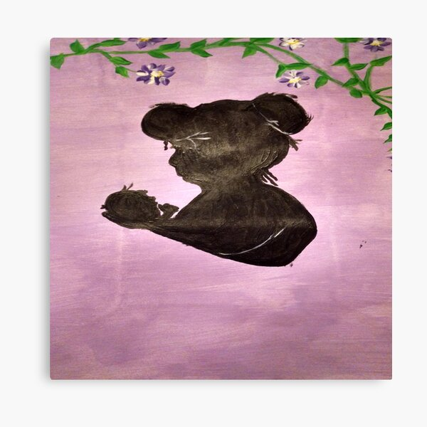 Mother and Infant Silhouette Art Canvas Print
