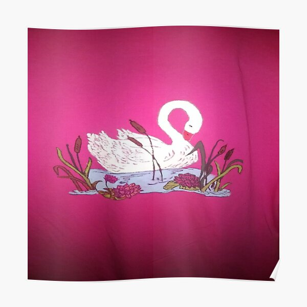Beautiful Swan Painting with Pink Back Ground Poster