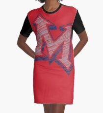 Miller M (Grey & Navy) Graphic T-Shirt Dress