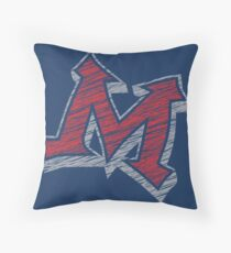 Miller M (Red & Grey) Throw Pillow