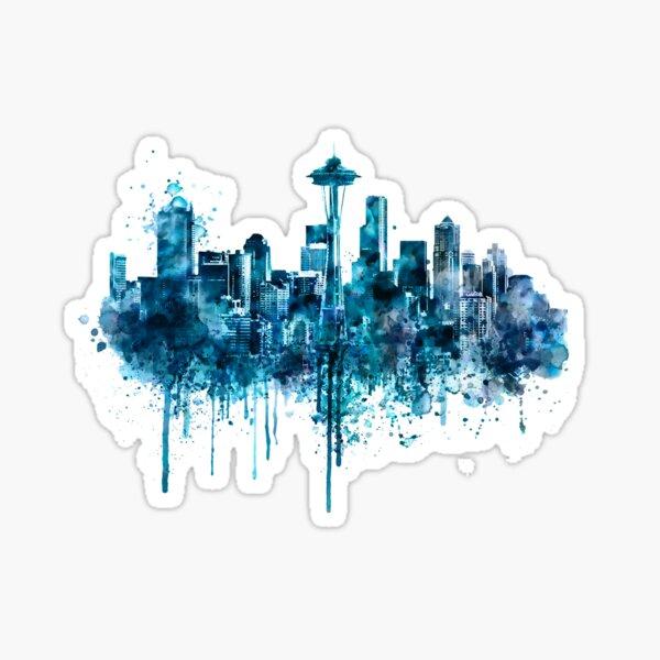 Seattle Skyline monochrome watercolor Sticker