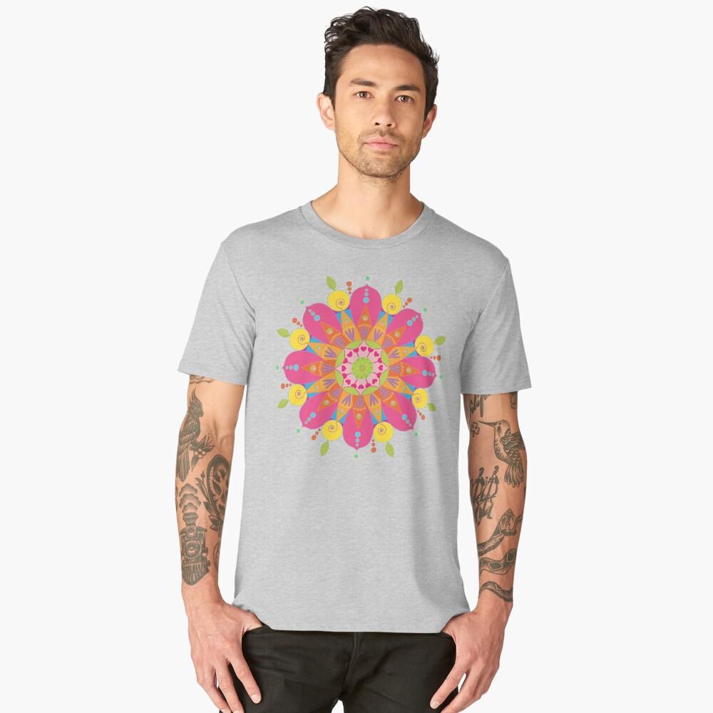 Mandala fleur aux couleurs vives T-shirt premium homme Front